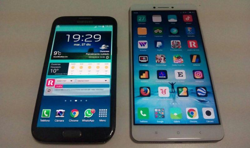 Xiaomi 6,44 pulgadas contra Galaxy Note 2 5,5 pulgadas