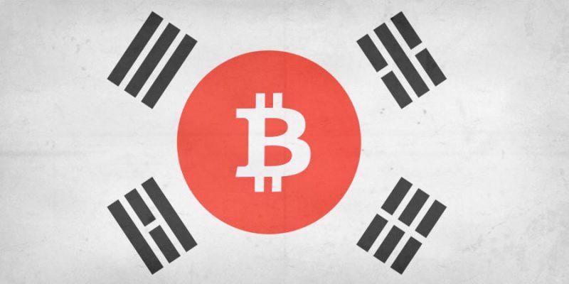 Bandera de Corea del Sur con Bitcoin