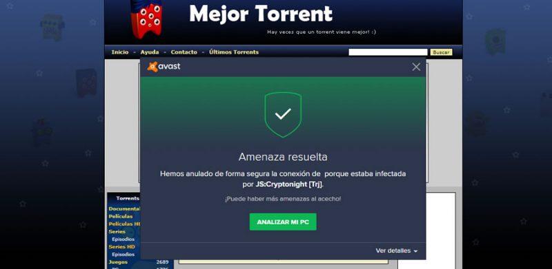 MejorTorrent mina criptomonedas