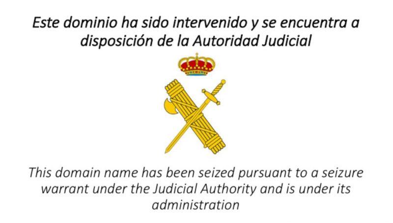 Web cerrada por la Guardia Civil