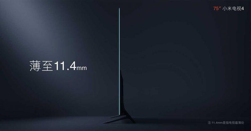 Xiaomi Mi Tv 4k de 75 pulgadas de lado