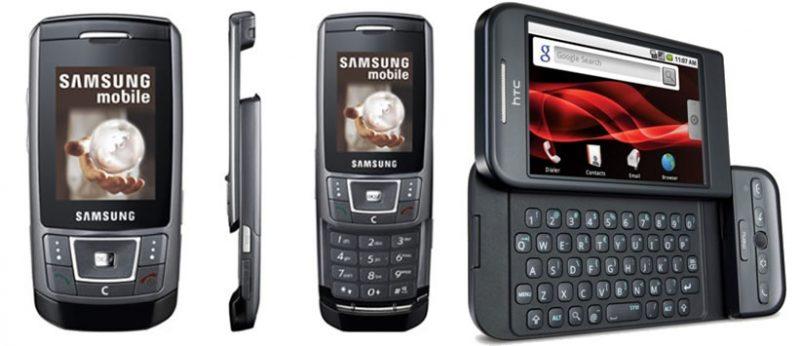 Samsung D900 y HTC Dream con teclado deslizable