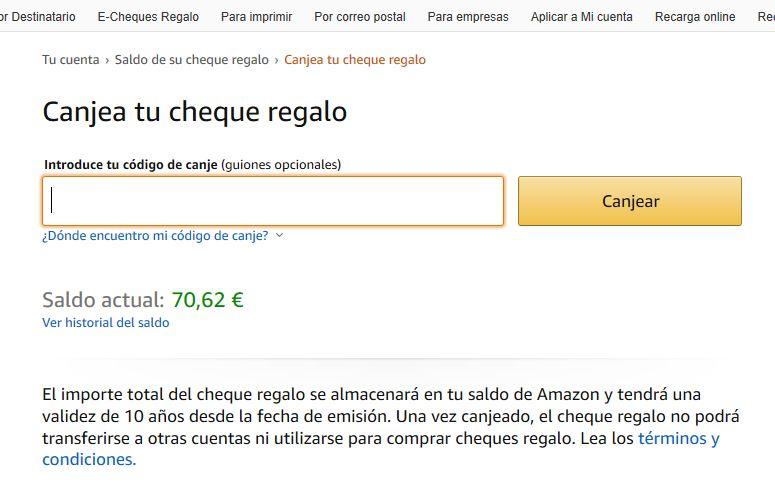 Escribir código cheque de Amazon