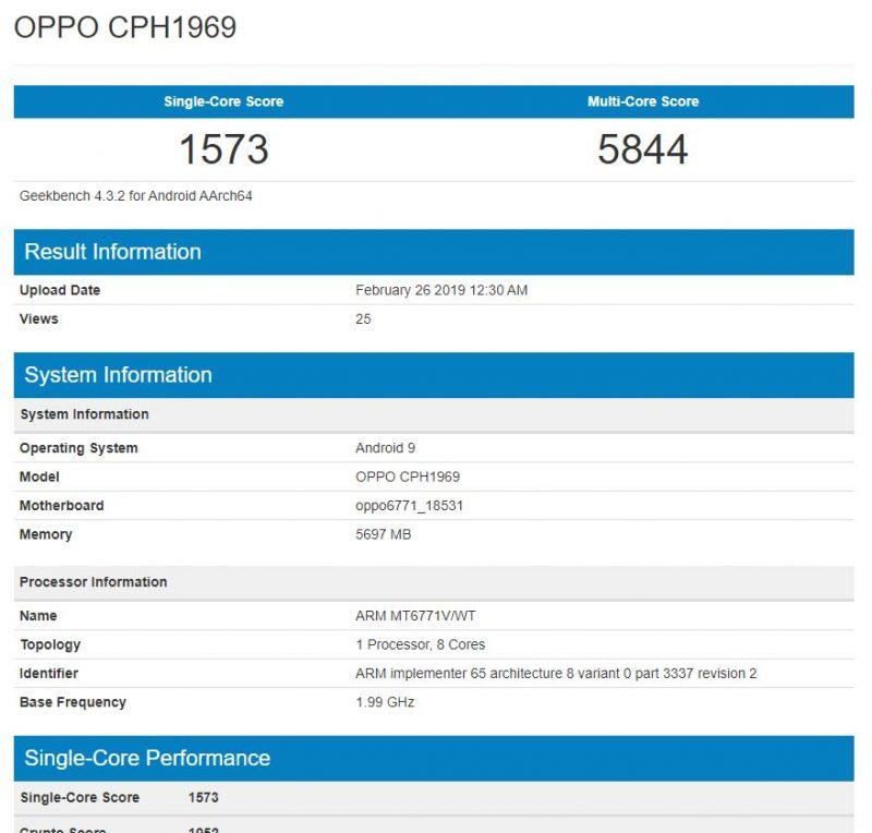 Oppo F11 Pro en Geekbench