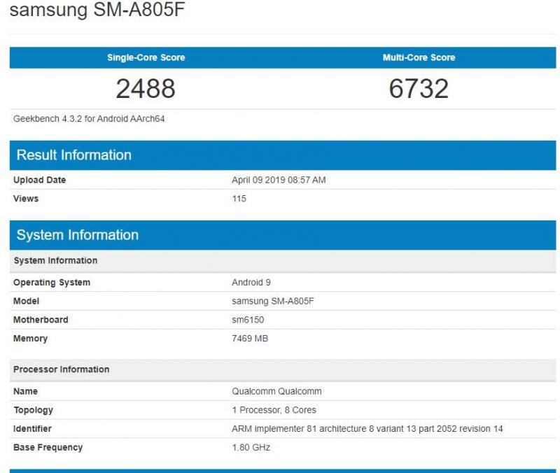 Samsung Galaxy A80 en Geekbench