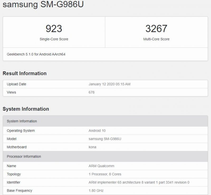Geekbench del Samsung Galaxy S20 Plus 5G