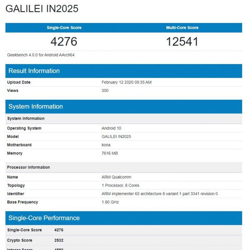 OnePlus 8 Geekbench