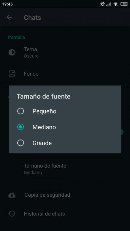 Cambiar tamaño texto Whatsapp