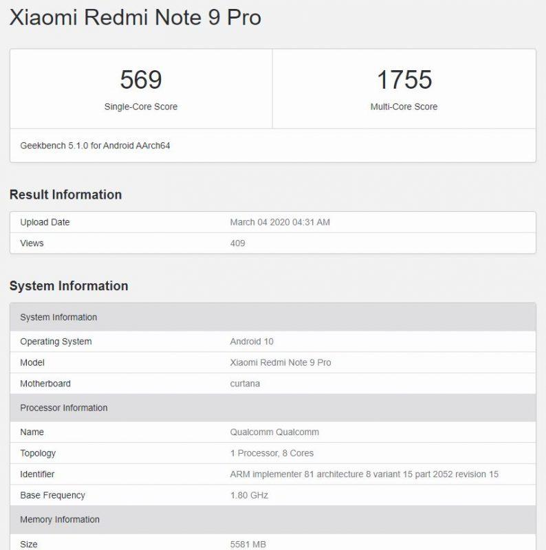 Geekbench del Redmi Note 9 Pro